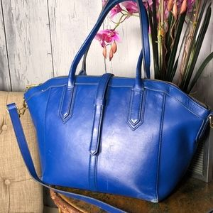 J.Crew Blue Leather Large Shoulder Tote Handbag